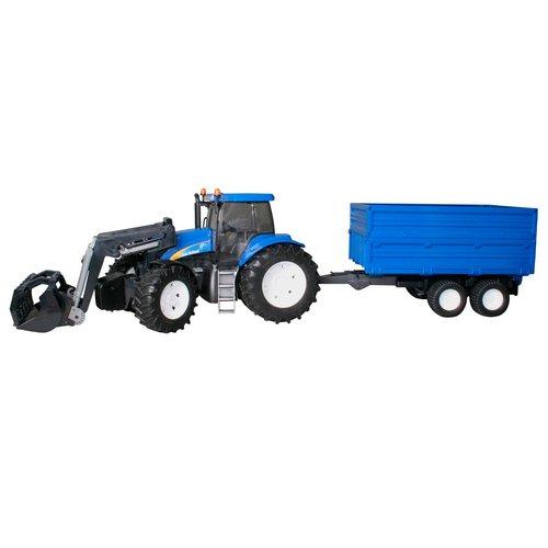 Трактор с погрузчиком и прицепом New Holland T8040 siku трактор new holland t7070 с опрыскивателем kverneland