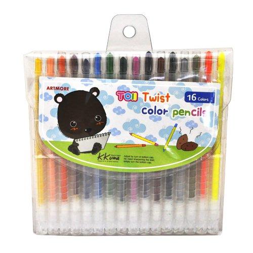 Карандаши восковые Twist Color Pencils, 16 цветов карандаши восковые мелки пастель milan карандаши 235 24 цвета