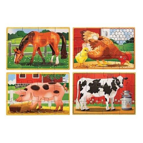 Купить Деревянные пазлы Животные с фермы , 48 элементов, Melissa & Doug, Пазлы