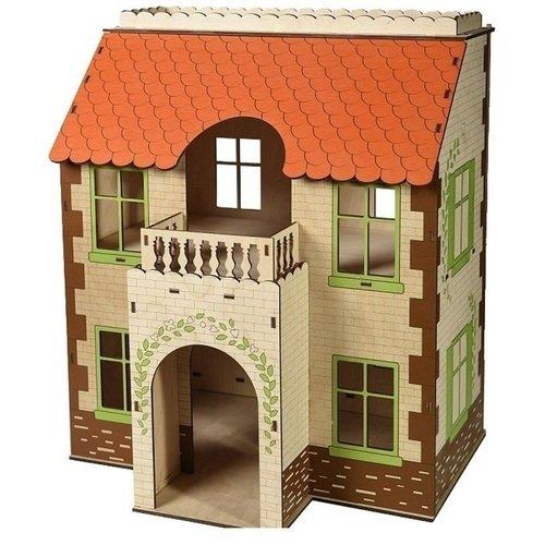 Дом с черепичной крышей украшение домик с белой крышей 2х5х4см мульти