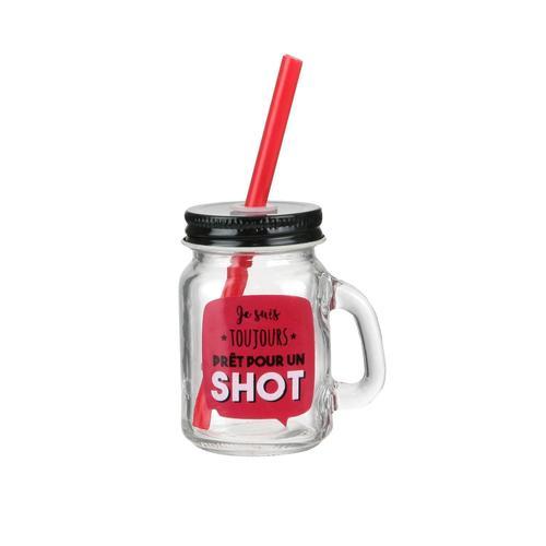 Кружка стеклянная Je Suis, с соломинкой, 100 мл кружка стеклянная с пластиковой соломинкой je peux pas 450 мл