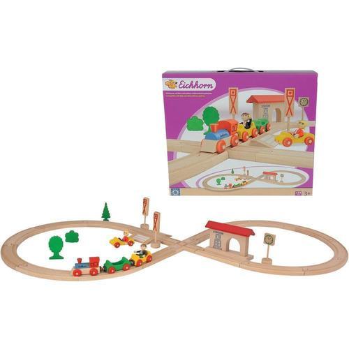 Деревянная железная дорога в виде восьмерки, 35 деталей деревянная железная дорога kidkraft деревянная железная дорога со столом аэросити
