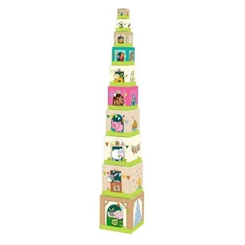 Пирамида из коробочек Ферма игра настольная набор кубиков животные на ферме