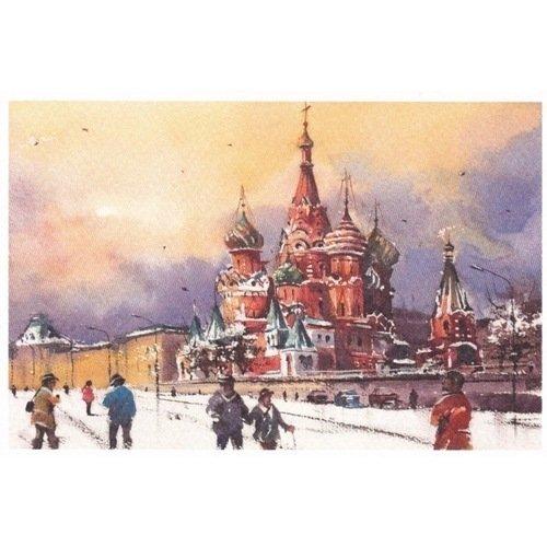 Открытка «Собор Василия Блаженного, зима» из серии открытка натюморт