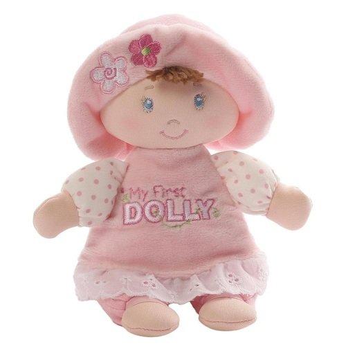 Купить Мягкая игрушка My First Dolly Small Brunette Rattle , 18 см, GUND, Мягкие игрушки