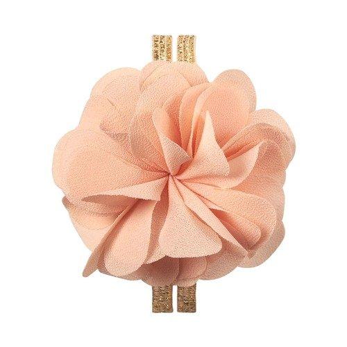 Резинка для волос шифоновая, с цветком, розовая