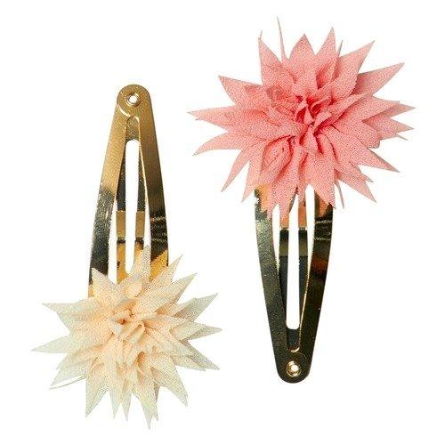 """Заколки """"Dahlia Flower"""", бежевая и коралловая"""