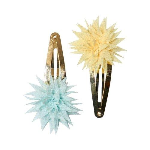 """Заколки """"Dahlia Flower"""", голубая и желтая"""