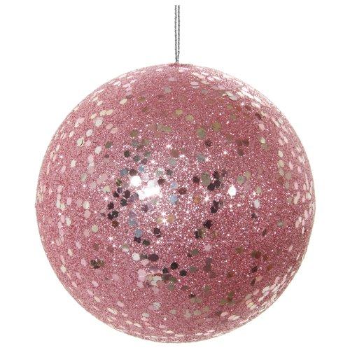 Елочный шар в блестках, 10 см, розовый