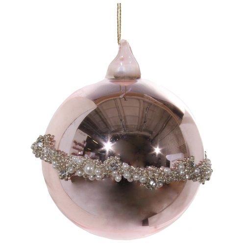 Елочный шар с поясом из бисера, 8 см, розовый