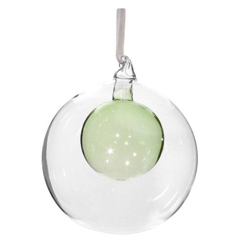 Елочный шар с зеленым шаром внутри, 12 см
