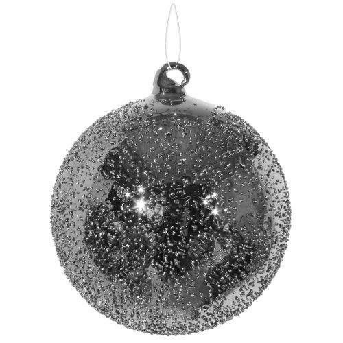 Елочный шар, 10 см, серебристый дизайнерский елочный шар на подставке quelle russian elka 1021263