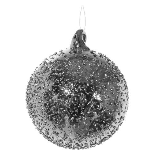 Елочный шар, 6 см, серебристый елочный шар снежное плетение ку 65 11 17 диаметр 6 5 см