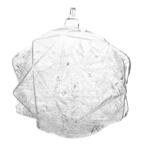Елочный шар с уголками и снегом внутри, 10 см
