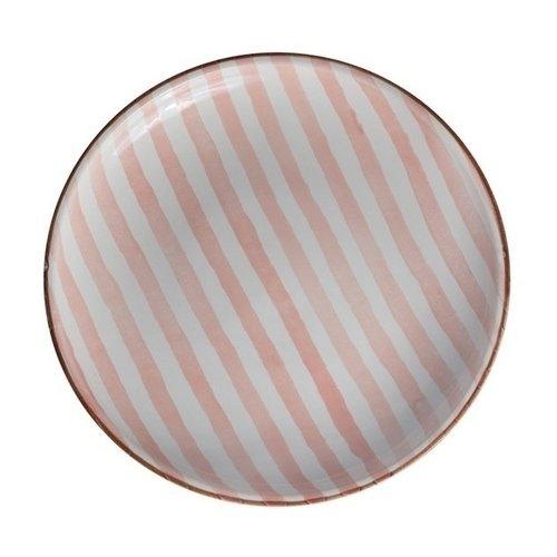 Тарелка Страйп без полей 25 см розовая