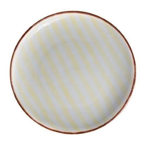 Тарелка Страйп, без полей, 25 см, желтая