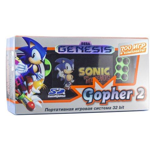 """Игровая приставка """"Genesis Gopher 2 LCD 4.3"""", зеленая, 700 встроенных игр игры картридж бесплатная смертельная комбат ii для 16 бит sega megadrive бытие sega игровой консоли"""