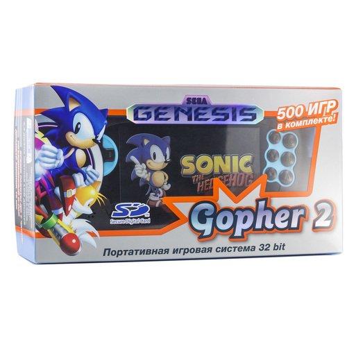 Игровая приставка Genesis Gopher 2 LCD 4.3, синяя, 500 встроенных игр игры для игровой приставки denn