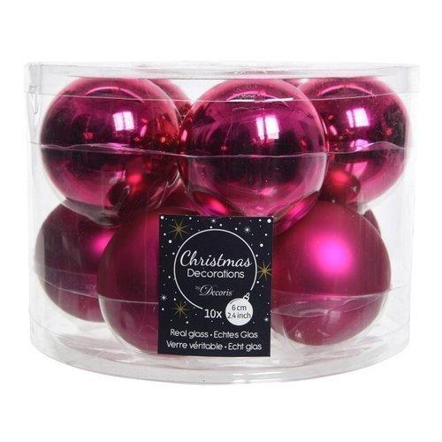 Фото - Набор стеклянных шаров, 60 мм, фуксия, 10 шт. набор стеклянных шаров рождественские сны 60 мм 20 шт