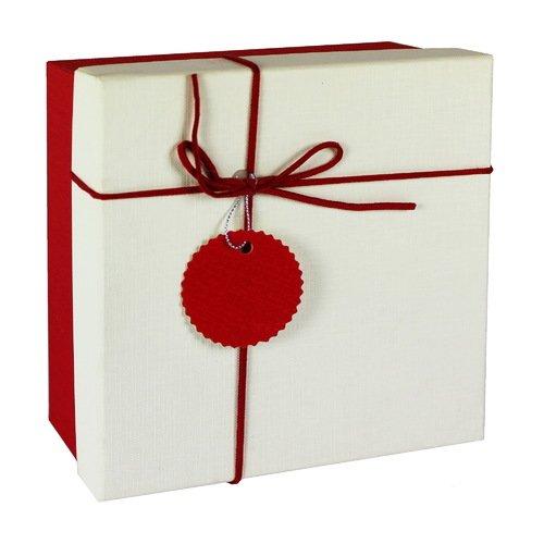 Коробка с бантиком, средняя, красная, 18 х 18 х 8 см коробка подарочная veld co свадебный бабочки цвет слоновая кость 18 х 18 х 26 см