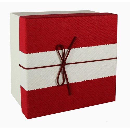 Коробка с бантиком, средняя, красно-бежевая, 18 х 18 х 8 см кружка бежевая 8х9 8 см