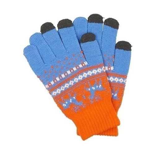 Перчатки для сенсорных экранов 1615, оранжево-голубые теплые перчатки для сенсорных дисплеев liberty project олени s violet r0000503