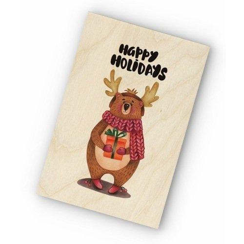 """Фото - Деревянная открытка """"Новогодний мишка"""" деревянная открытка """"новогодний мишка"""""""