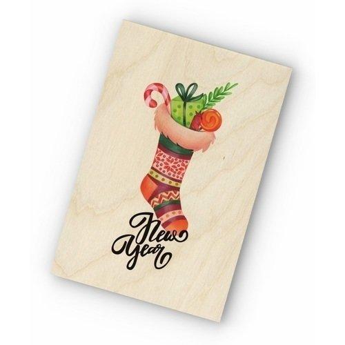 """Фото - Деревянная открытка """"Новогодний носок"""" деревянная открытка """"новогодний мишка"""""""