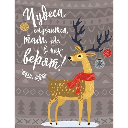 Блокнот Новогодние олени. Чудеса случаются, 32 листа новогодние олени блокнот