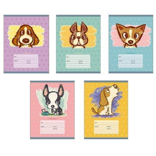 Тетрадь Собачье счастье А5, 18 листов, в линейку, в ассортименте еж стайл тетрадь a little sleep любовь в линейку 38 листов