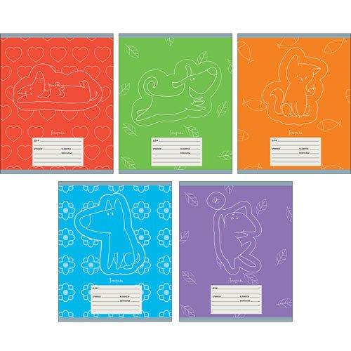 Тетрадь Кот и пес. Графика А5, 24 листа, в линейку, в ассортименте тетрадь фрукты и ягоды графика а5 24 листа в линейку в ассортименте
