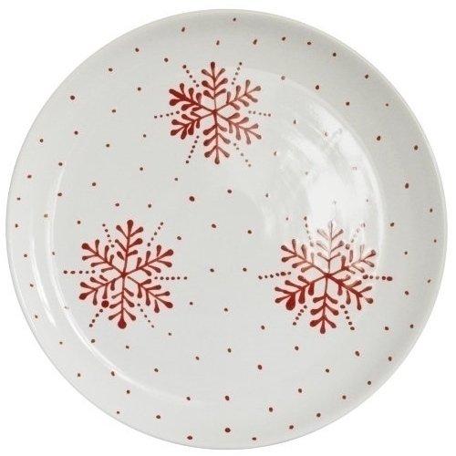 "Тарелка ""Новогодняя"" без полей, красно-белая"