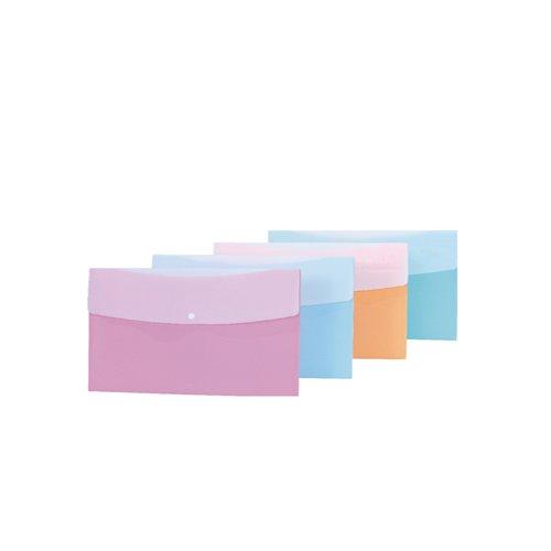 Папка-конверт на кнопке Plastic Envelope A4, в ассортименте папка на резинке природные цветы a4 в ассортименте