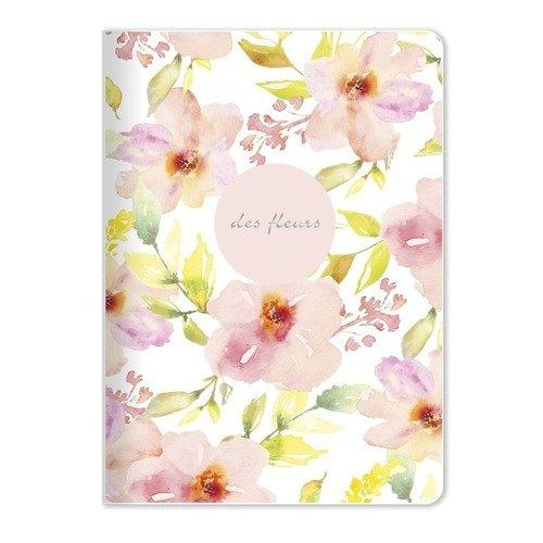 Тетрадь общая Fleurs, 48 листов, в клетку, 15 х 21 см, розовая