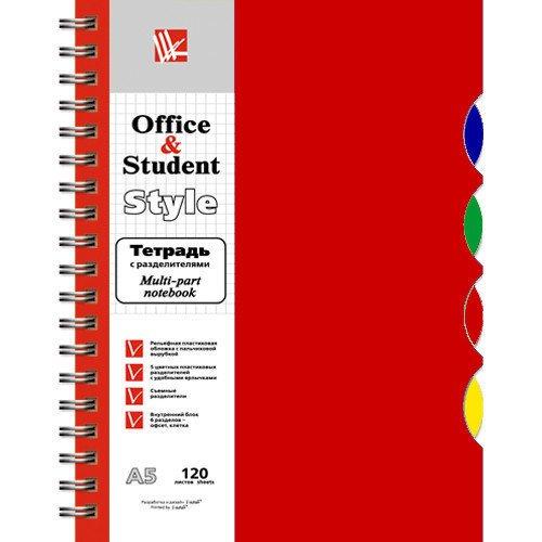 Тетрадь А5, темно-красная, 120 листов, в клетку listoff тетрадь с разделителями 120 листов в клетку цвет темно красный