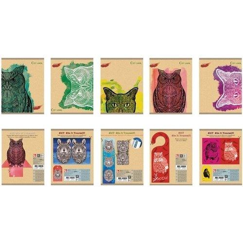 Тетрадь Коты и совы А5, 48 листов, в клетку, в ассортименте тетрадь яркие джунгли графика а5 48 листов в клетку в ассортименте