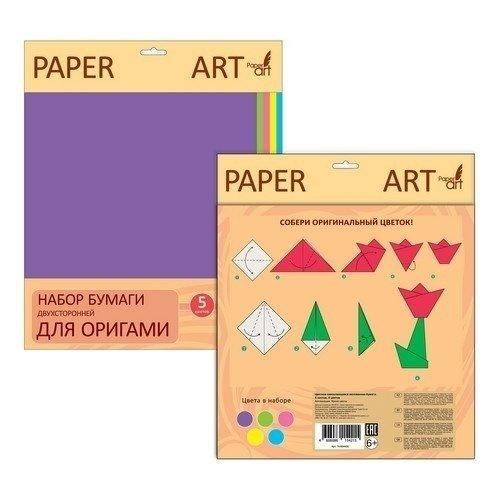 """цена на Набор двухсторонней бумаги для оригами """"Нежные тона. Интерактив"""" 5 цветов, 25 листов"""