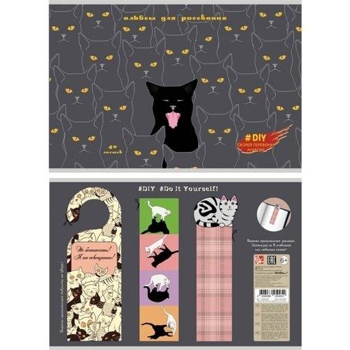 Альбом для рисования Мяу!, 40 листов, 110 г/м2 альбом для рисования феникс 47110 5 полосатые коты 40 листов