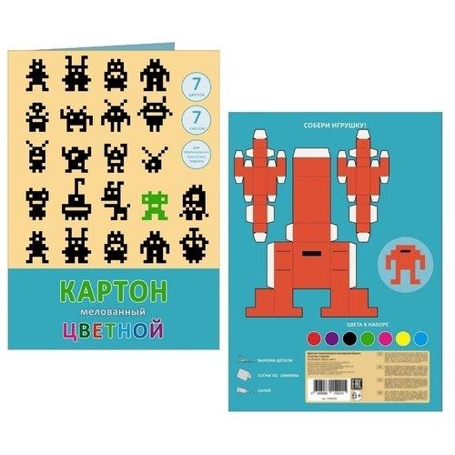 """цена на Набор цветного мелованного картона """"Пиксели"""", 7 цветво"""