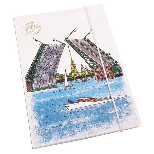Блокнот на резинке Дворцовый мост с Петропавловкой А5, 80 листов блокнот дудл а5 100 стр 80 г м2