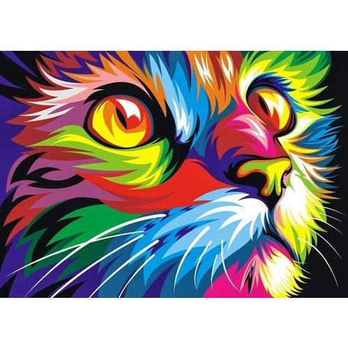 цена на Раскраска по номерам Радужный кот, 40 х 50 см