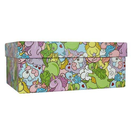 Подарочная коробка Цветные единороги, 23 х 16 х 10 см подарочная коробка зигзаги 9 х 16 х 23 см