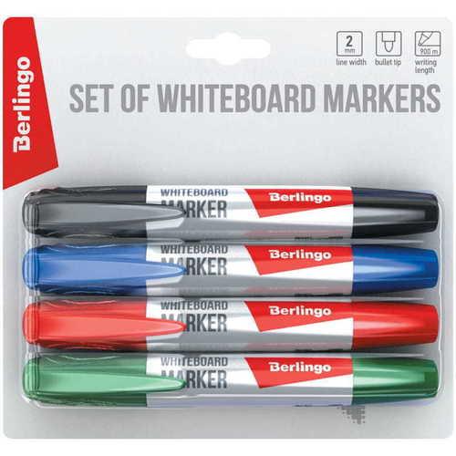 Набор маркеров для белых досок, 2 мм, 4 цвета