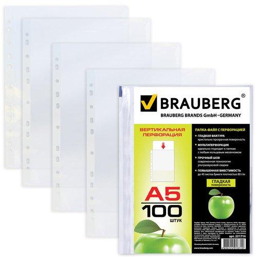 Папки-файлы вертикальные, А5, 35 мкм, 100 шт, 14,8 х 21 см