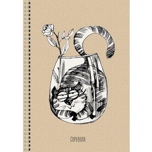 купить Тетрадь для конспектов Озорной котик А4, 96 листов, в клетку дешево