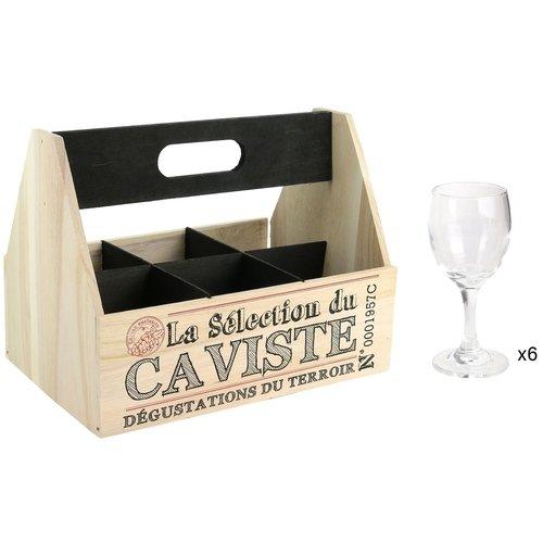 Набор бокалов для вина в деревянной корзине, 6 шт., ассортименте