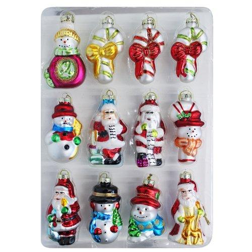 Набор игрушек стеклянных на елку, 8,5 см, 4 вида, 12 шт.