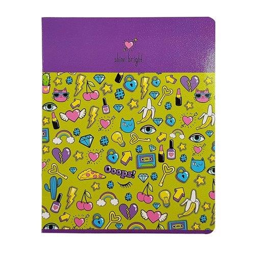 "Тетрадь ""Stickers"", 48 листов, в клетку, 16,5 х 20,3 см, сиреневая"