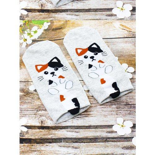 Короткие носки Krumpy «Котята с хвостом» 35-40, серые