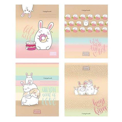 Тетрадь БиДжи White rabbit А5, 48 листов в клетку, в ассортименте